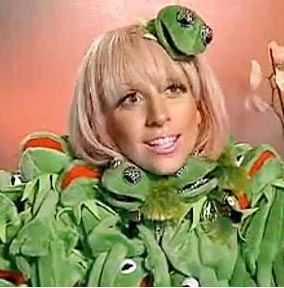 mother monster watching the kermit dress