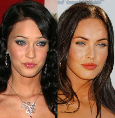 Megan Fox, before (left) and after (right) plastic surgery