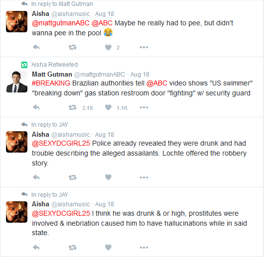 U.S. Olympic Committee Apologizes As Ryan Lochte Story ... K Michelle And Ryan Lochte Tweets